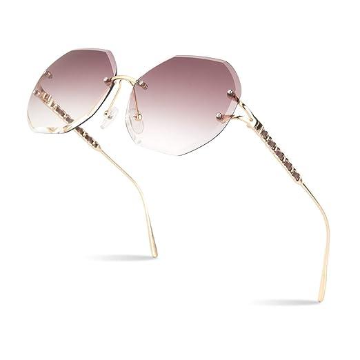 e845c8d288e Amazon.com  Sunier Rimless Sunglasses For Women Oversized Diamond Cutting  Lens Sun Glasses  Clothing