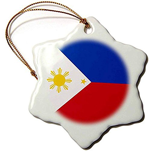 Bowen Rhodes Flag Of The Philippines Filipino Blue Red White With Golden Yellow Sun And Stars-Snowflake Ornament, Porcelain, 3-Inch