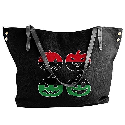 Black Tote Pumpkin Handbag Canvas Women's Hand Halloween Head Bag Large Libya Shoulder fwRcAP