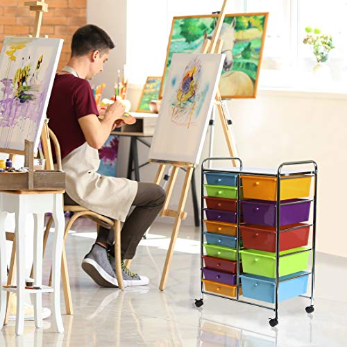 Seville Classics 15-Drawer Organizer Cart Pearlescent Multi-Color by Seville Classics (Image #3)