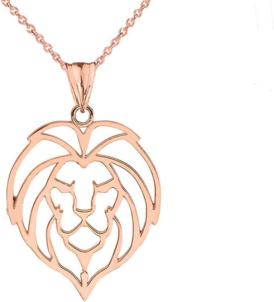 Amazon Com Fine 14k Rose Gold Lion Head Outline Charm Pendant Necklace 16 Jewelry Gold lion hotel offers impeccable service and all the essential amenities to invigorate travelers. fine 14k rose gold lion head outline