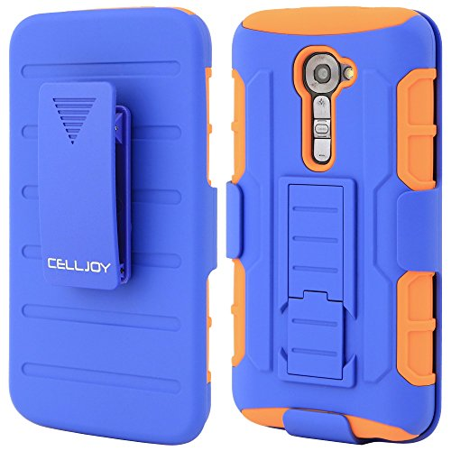 CellJoy LG G2 Verizon VS980 Case Protective Cover Skin [Future Armor] Ultra Fit Dual Protection Cover with Belt Clip Holster For G2 [Retail Packaged] (Blue / Orange)