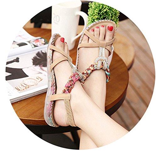 Aisun Da Donna Sandalo Piatto Antiscivolo Sandalo Aperto Con Cinturino Alla Caviglia E Scarpe Albicocca