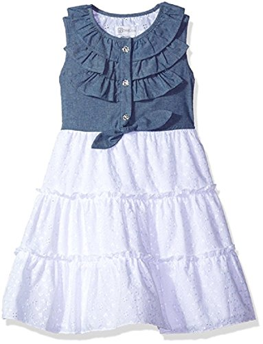 irls' Sleeveless Tie Front Chambray to Eyelet Tiered Dress, Blue/White, 6 ()