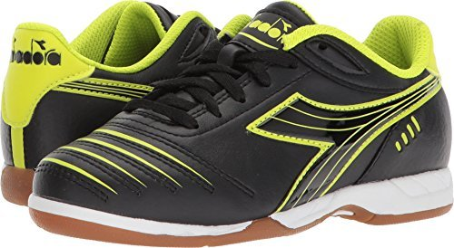 Diadora Kids Unisex Cattura ID Jr Soccer (Little Kid/Big Kid) Black/Yellow Flou 3 M US Little Kid