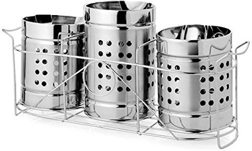 Stainless Steel Spoon Holder & Stand Set of 3 | Cutlery Holder with Stand Set of 3 | Presented by Quality Cops Price & Reviews