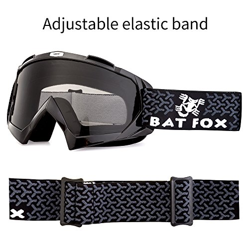 BATFOX Motorcycle ATV Goggles Dirt Bike Motocross Safety ATV Tactical Riding Motorbike Glasses Goggles for Men Women Youth Fit Over Glasses UV400 Protection Shatterproof (Black&grey)