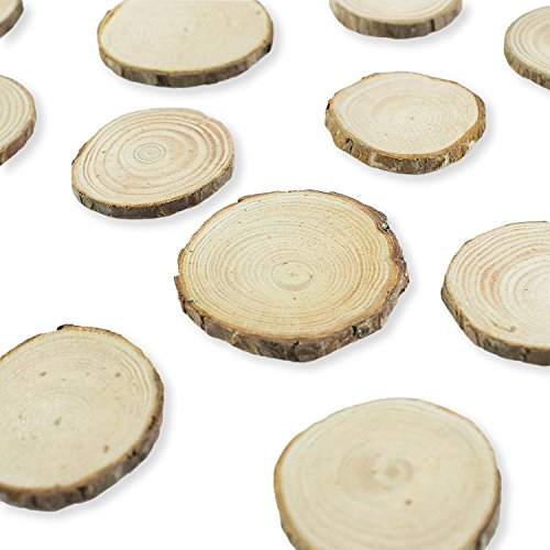 Mini Assorted Size Natural Color Tree Bark Wood Slices Round Log Discs for Arts & Crafts, Home Hanging Decorations, Event Ornaments (5-8cm, 20pcs) by Super Z Outlet (The Size And Thickness Make compare prices)