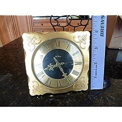 Vintage Seth Thomas Alarm Clock Gold Tone Scroll Fleur de lis Made in Germany