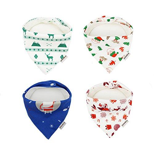 Christmas Baby PEVA Bibs Long Sleeve Boy Girl Elf and Pudding Elf /& Pudding