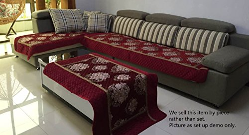 Ofit High Quality Chenille Quilted Sectional Sofa Throw Pads Furniture Protector Sold By Piece Rather Than Set (Wine, 35x70