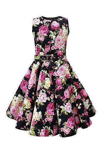 BlackButterfly Kids 'Audrey' Vintage Divinity 50's Girls Dress (Black, 13-14 YRS) -
