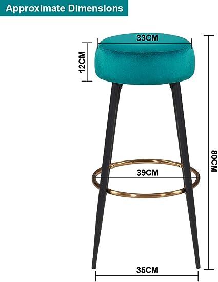 colore:rosso rotondo piedini in metallo altezza 80 cm selezione colore Duhome 5168A 2x Sgabelli da bar tessuto velluto materiale:velluto