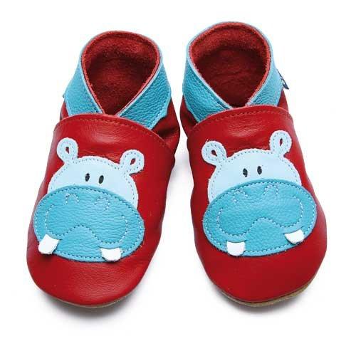 Inch Blue - 1796 XL - Chaussures Bébé Souples - Hippo - Rouge / Turquoise - T 22-23 cm