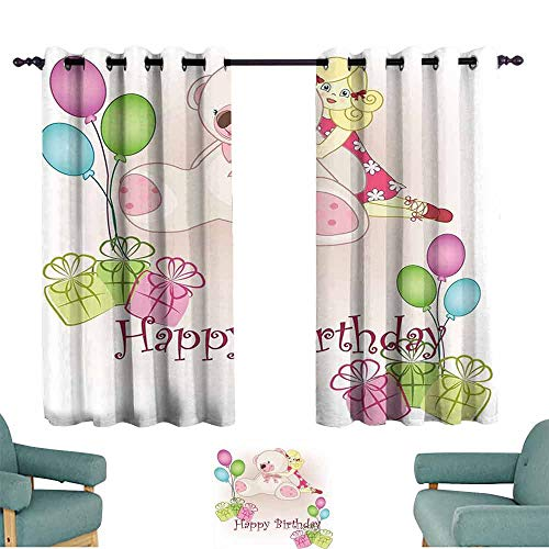 Bills Hot Rod Brackets - Mannwarehouse Kids Birthday Durable Curtain Baby Girl Birthday with Teddy Bears Toys Balloons Surprise Boxes Dolls Image Suitable for Bedroom Living Room Study, etc.55 Wx39 L Pale Pink