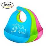 Baby : Bonim Baby Bibs Waterproof Silicone Bib - Comfortable and Adjustable Soft Feeding Bibs for Infants & Toddlers (6-72Months) Easy to Clean, Dry, Portable and Keep Stains Off! Set of 3 Colors