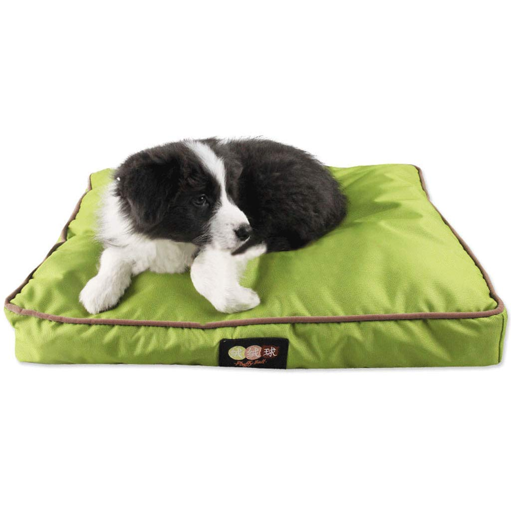 GREEN M (65X45X10CM) GREEN M (65X45X10CM) Oxford Cloth Thickening Four Seasons Removable and Washable Pet Mat Square Edging Dog Mat (color   Green, Size   M (65X45X10CM))