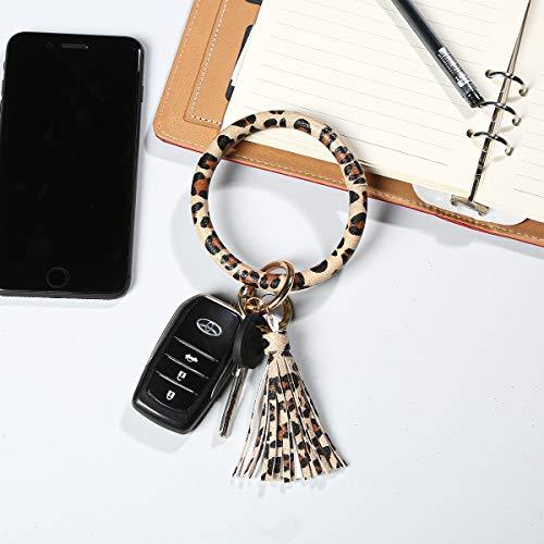 Leather Key Ring Bracelet Keychain, Bling Belle Large Circle Tassel Wristlet Keychain Bangle Key Ring for Women and Girls, Leopard