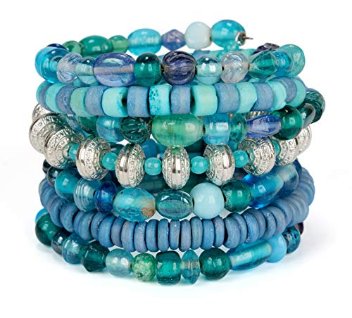 (SPUNKYsoul Blue Glass and Matte Beads Handmade Bohemian Coil Spring Bracelet for Women (Blue))