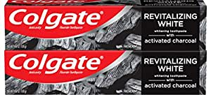 Colgate Activated Charcoal Teeth Whitening Toothpaste with Fluoride, Natural Mint Flavor, Vegan - 4.6 ounce (2 Pack)
