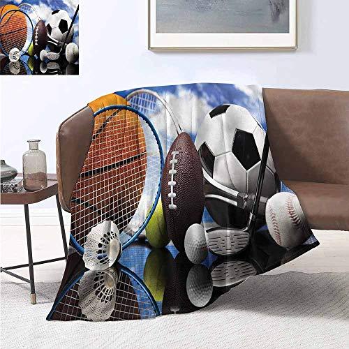 HCCJLCKS Reversible Blanket Sports Football Soccer Darts Hockey Plush Throw Blanket W60 xL80 Traveling,Hiking,Camping,Full ()