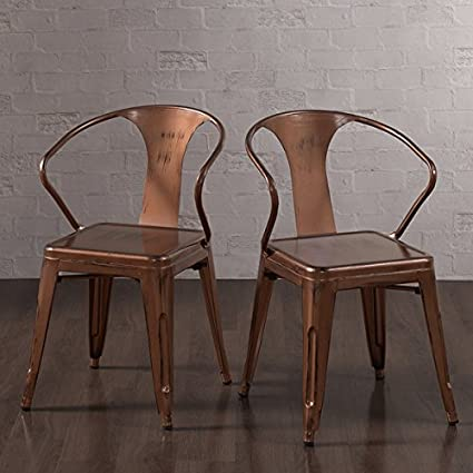 Charmant Metal Dining Chair With Brushed Copper Finish (Set Of 4 Stacking Chairs)