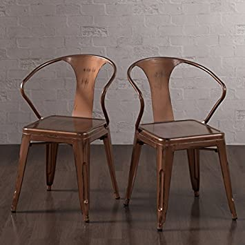 metal dining chair with brushed copper finish set of 4 stacking chairs
