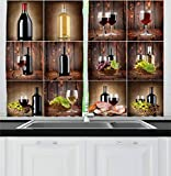 wine and grape kitchen curtains - Ambesonne Wine Kitchen Curtains, Wine Themed Collage on Wooden Backdrop with Grapes and Meat Rustic Country Drink, Window Drapes 2 Panel Set for Kitchen Cafe, 55 W X 39 L Inches, Brown Black Red