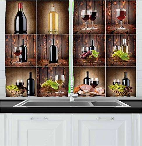 (Ambesonne Wine Kitchen Curtains, Wine Themed Collage on Wooden Backdrop with Grapes and Meat Rustic Country Drink, Window Drapes 2 Panel Set for Kitchen Cafe, 55 W X 39 L)