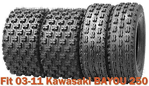 Set of 4 Sport Racing ATV tires 21x8-9 & 22x10-10 for 03-11 Kawasaki BAYOU 250 ()