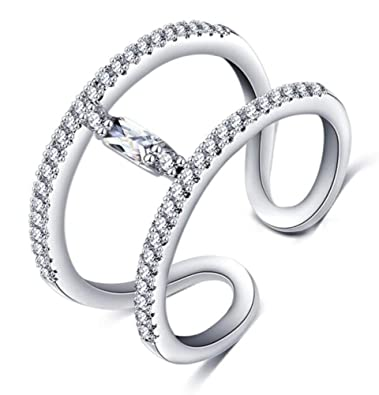 60b12adc2178c TEMEGO 14K White Gold Double Row Wrap Open Cuff Ring Baguette Solitaire  Cubic Zirconia CZ Stacking Ring