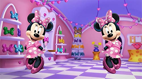 Backgrounds for Photography Minnie Mouse 7x5 Cartoon Clubhouse Photography Background Newborn Baby Girl 2nd Birthday Party Tabletop Banner ()