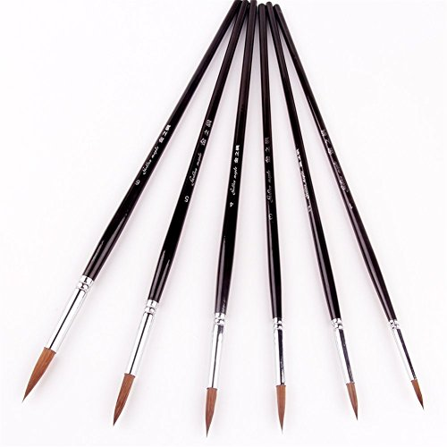 Red Sable Brush (Detail Artist Paint Brushes Miniature Red Sable Artist Brushes Set for Acrylic Watercolor Painting 6 Pieces)