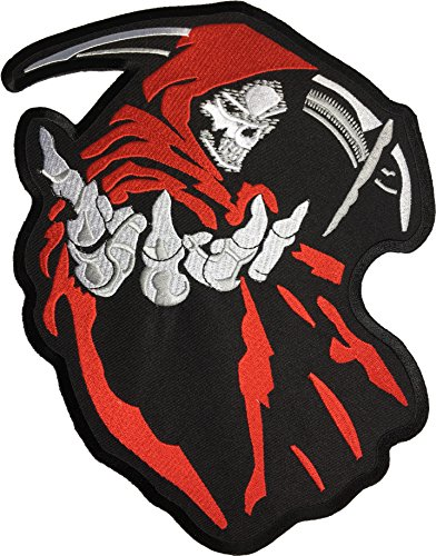Red Riding Hood Diy Costumes ([Large Size] Papapatch Grim Reaper Scythe God Angel of Death Ghost Dangerous Evil Devil Biker Punk Ride Motorcycle Costume Jacket DIY Embroidered Sew Iron on Patch - Red (IRON-GRIM-SCYTHE-RED))