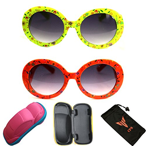 2 Pairs Girls Cute Fun Outdoor Round Oval Fashion Designer Eye glasses Sunglasses with +Free - Designer Sun Discount Glasses