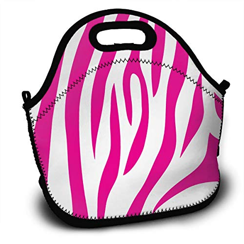 - Yisliferunaz Pink Zebra Tiger Skin Striped Lunch Bag Portable Bento Bags Food Boxes Carry Case Tote Adults Kids Outdoor Multifunction Handbag Pouch for Picnic Travel School Office Trip Work