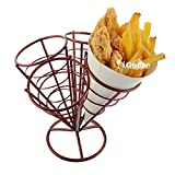 iGodee French Fry Fries Holder 4 Cones Food-grade Kitchen Cooking Tool Food Presentation Tableware Red INF0024