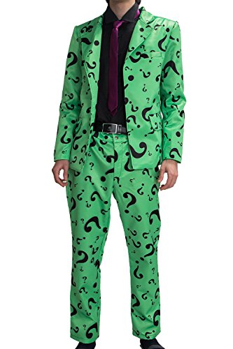 Riddler Costume Suit Shirt Tie Question Mark Green Cosplay Halloween Outfit Xcoser L ()