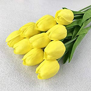 GSD2FF 21pcs/lot PU Fake Artificial Flower Bouquet Real Touch Silk Tulip Flowers for Party Wedding Home Decoration Flower,Yellow 81