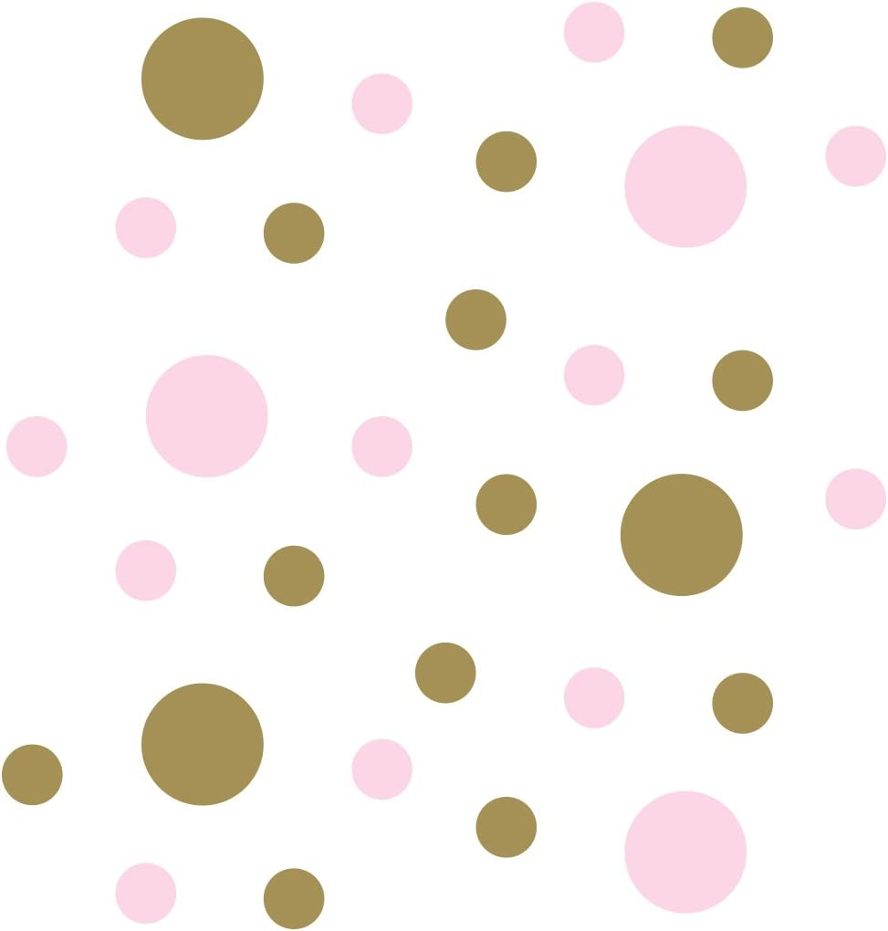 Baby Pink/Metallic Gold Vinyl Wall Stickers - 2 & 4 inch Circles (30 Decals)