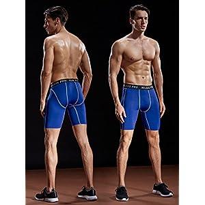 Neleus Men's 3 Pack Compression Short,047,Black,Grey,Blue,US XL,EU 2XL