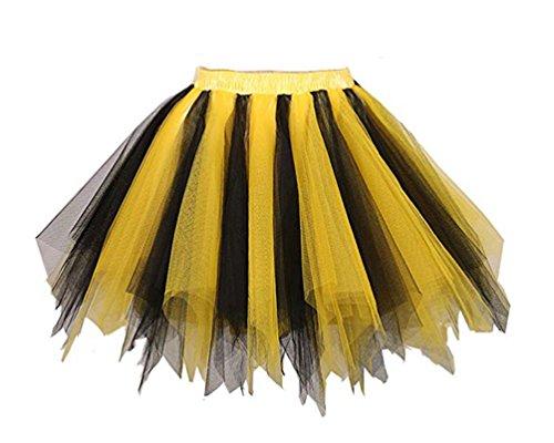 Loreone Women's Rainbow Tutu Petticoats Crinoline Dance Adult Skirt Gold/Black-S/M -