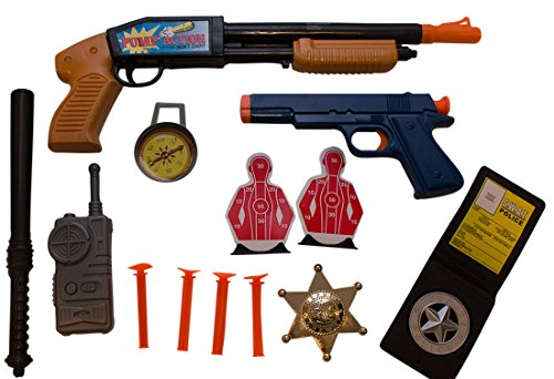 Dress Up Police Officer Costume Accessories for Kids 9-Piece Set Includes Non-Working Pump Action Shotgun and Pistol includes Gold-Tone Sheriff Badge by Imprints (Costume Role Playset)