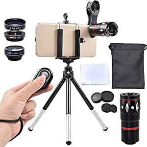 Apexel Phone Camera Lens Kit, 4 in 1, HD 12X Zoom Telescope Lens+EXTRA Bluetooth Shutter Fisheye+ Wide Angle+Macro Lens, Holder and Tripod, Clip on Cell Phone Lens iPhone 8/7/6s Plus/SE, iPad, Samsung