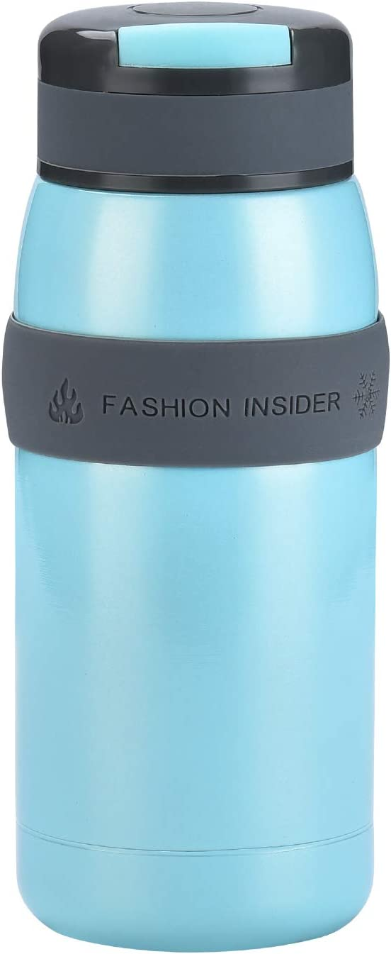 TENTA KITCHEN Leak Proof Vacuum Insulated Stainless Steel Water Bottle Tiny Potable Travel Coffee Mug Insulated Tumbler Cup with Silicone Sleeve For Children,Blue,220ML - 18/8(304) Stainless Steel