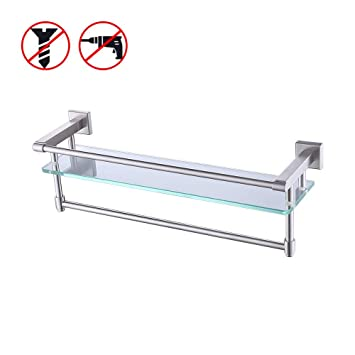 Marvelous Kes Sus304 Stainless Steel Bathroom Glass Shelf With Towel Bar And Rail Brushed Finish Heavy Duty Download Free Architecture Designs Scobabritishbridgeorg