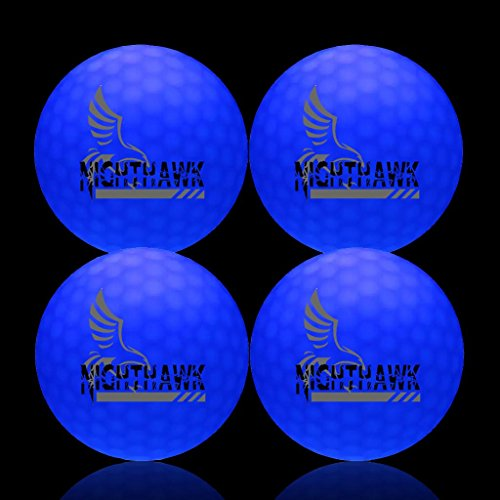 How Long to Read NightHawk [Upgraded Version] 4 Blue Glow In Dark LED Light  Up Golf Balls   150 minute per activation   Super Bright Night Golf Fun