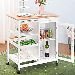 Merax WF036473KAA Kitchen Island Portable Storage Trolley Cart with Drawers
