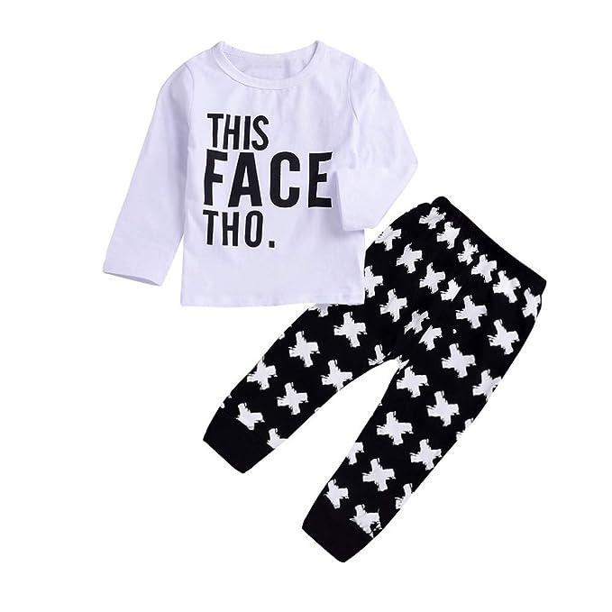 Rawdah_Conjunto Bebe NiñO Invierno Blusas Bebe NiñO Sudaderas Bebe NiñO 2PCS NiñO NiñOs BebéS Y BebéS Carta Imprimir Top Clothes + Long Pants Set Outfit: ...