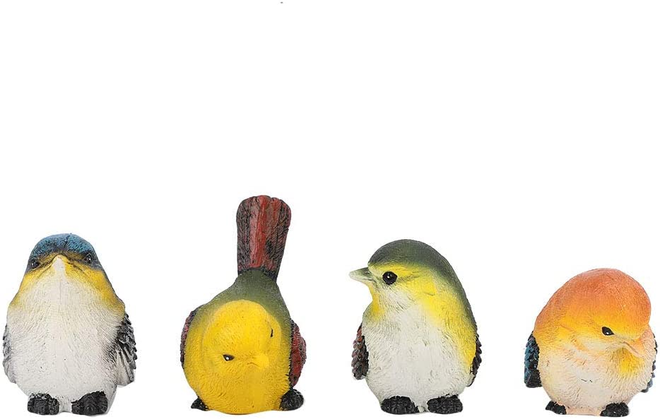 Xinapy 4Pcs Resin Birds Animal Figurine Decoration Garden Statue Birds Decor Lawn Garden Courtyard Ornaments
